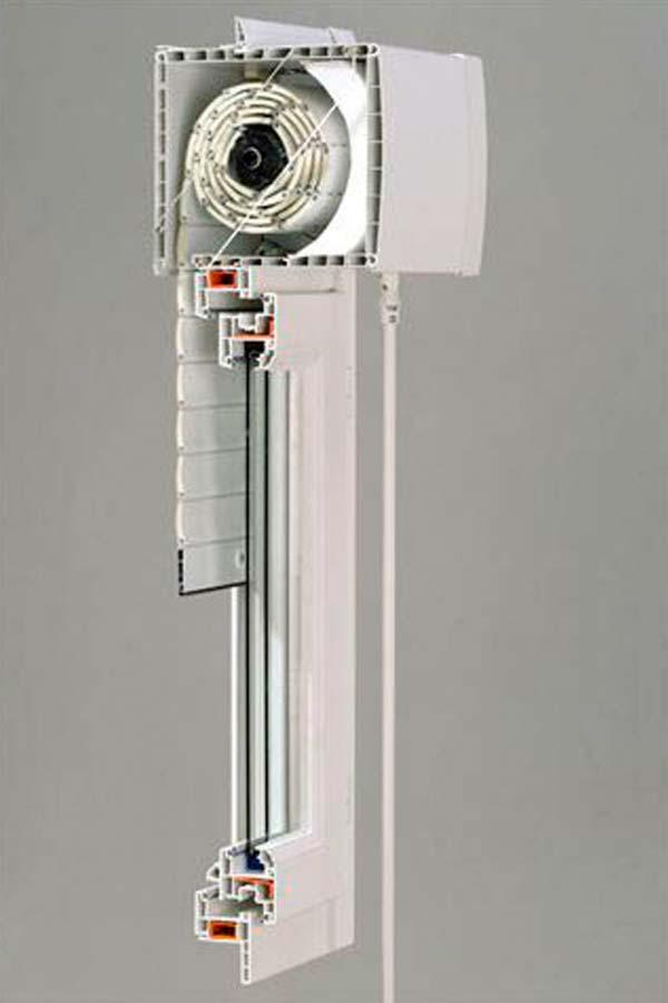 Fenêtre PVC avec store, schema
